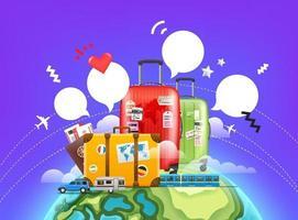 concept d & # 39; aventure mondiale avec bulles vecteur