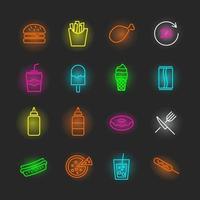 jeu d & # 39; icônes de restauration rapide au néon vecteur