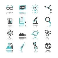 icônes de la science avec réflexion vecteur