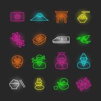 jeu d'icônes néon japonais vecteur