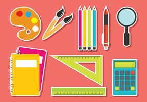 Ensemble de fournitures scolaires vectorielles vecteur