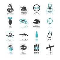 icônes de guerre avec réflexion vecteur