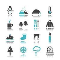 icônes d & # 39; hiver avec réflexion vecteur