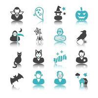 icônes d & # 39; halloween avec réflexion vecteur