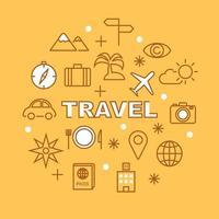 icônes de contour minimal de voyage vecteur