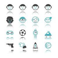 icônes de garçon avec réflexion vecteur