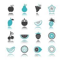 icônes de fruits avec réflexion vecteur