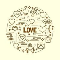 amour jeu d & # 39; icônes de ligne mince minime vecteur
