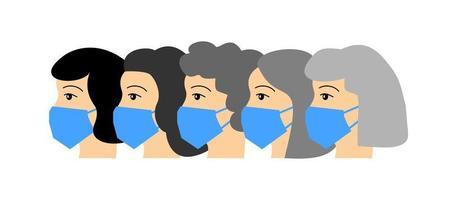 médecins en masques médicaux. visages de médecins de profil. travailleurs médicaux vecteur