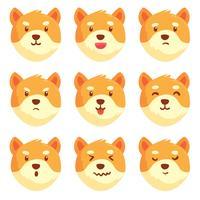 Vecteur de collection d'émotions chien