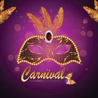 illustration créative de carte de voeux invitation fête carnaval sur fond violet vecteur