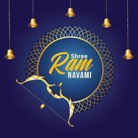 illustration vectorielle de ram navami heureux avec arc et flèche dorés vecteur