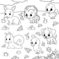 livre de coloriage pour les enfants. clipart animal. personnages joyeux. illustration vectorielle. style de dessin animé mignon. silhouette de contour noir. isolé sur fond blanc. vecteur