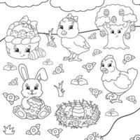 livre de coloriage pour les enfants. clipart de Pâques. personnages joyeux. illustration vectorielle. style de dessin animé mignon. silhouette de contour noir. isolé sur fond blanc. vecteur
