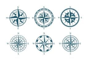 Boussole Icon Set Vector