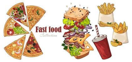 sandwich de restauration rapide de vecteur, pommes de terre de campagne, pizza, boisson. vecteur