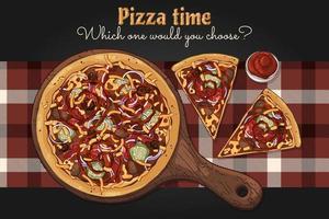 vecteur. pizza à thème de restauration rapide sur une planche. vecteur