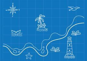 Carte nautique dessiné à la main vecteur