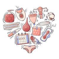 illustrations vectorielles sur le thème de l'hygiène féminine. vecteur