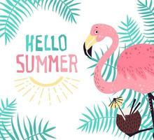 vecteur flamant rose mignon avec un cocktail tropical. lettrage bonjour l'été.