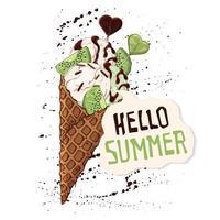 crème glacée de vecteur dans des cornets gaufrés décorés de baies, de chocolat ou de noix.