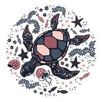 tortue de vecteur plat dessiné à la main entouré de plantes et d'animaux marins.