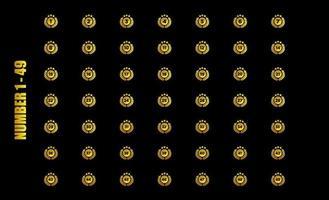 logo anniversaire doré mis célébration avec étoile dorée et feuille de cercle vecteur