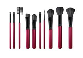 Divers outils de brosses réalistes pour maquillage vecteur