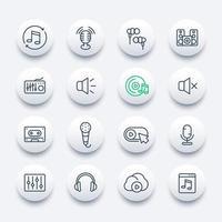 audio, icônes de ligne de musique, mixage et enregistrement du son vecteur