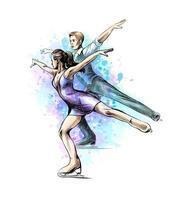 résumé, sports d'hiver, patinage artistique, jeune couple, patineurs, de, éclaboussure, de, aquarelles. sport d'hiver. illustration vectorielle de peintures vecteur