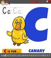 lettre c de l'alphabet avec oiseau canari de dessin animé vecteur