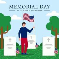 soldats américains saluant les tombes des héros vecteur