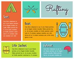 Design plat infographie vectorielle de kayak, équipement de canoë avec texte, icônes, emblèmes. Style de dessin mignon pour le web, application mobile, ombre portée. Aventure en plein air et thème de voyage. vecteur