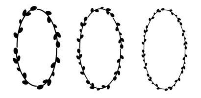ensemble de couronnes de saule de pâques. couronne florale de val. silhouette noire de cadre ovale. illustration vectorielle plane. conception pour Pâques, mariages, invitations, impression vecteur