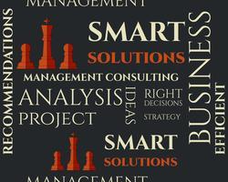 Modèle sans couture de solutions intelligentes avec la notion de gestion Consulting Conseil. Concept d'affaires illustration illustration. Idées et réalisation de projets. vecteur