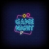vecteur de texte de style enseignes au néon de nuit de jeu