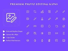 pack d'icônes d'édition de photos vecteur