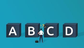 concept de choix d'entreprise avec caractère homme d'affaires devant quatre boîtes avec alphabet différent. décideur en entreprise et cheminement de carrière. vecteur