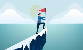 homme d & # 39; affaires de succès au sommet de l & # 39; illustration vectorielle de montagne. vecteur