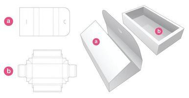 boîte à plateaux avec couvercle enveloppé gabarit découpé vecteur