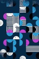 Motif géométrique abstrait de style bauhaus sans soudure avec superposition d'effet grunge, fond géométrique abstrait vecteur