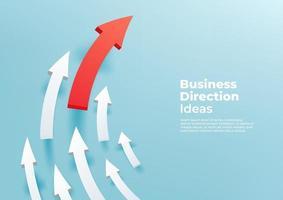 flèches 3d blanches incurvées dirigées vers le haut, voie de progression et concept créatif de réalisation avant. flèche rouge jusqu'à la réussite de la croissance. vecteur