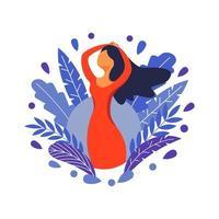 illustration de concept féminin, belle femme, beauté féminine. personnage décoré de fleurs et de feuilles. illustration vectorielle en style cartoon plat. vecteur