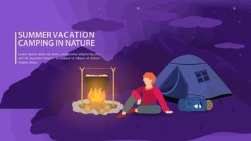 bannière pour la conception d & # 39; un camping d & # 39; été dans la nature, un mec est assis près d & # 39; un feu de camp la nuit dans le contexte de l & # 39; illustration vectorielle plane de montagnes vecteur