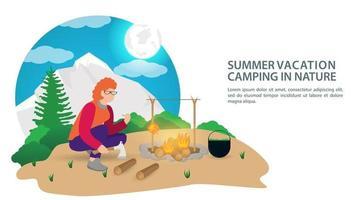 bannière pour la conception du camping d'été une fille fait un feu pour cuisiner le petit déjeuner sur le fond des montagnes et des forêts vector illustration