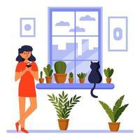 Bonjour. fille à la fenêtre avec un chat. café matinal. confort de la maison. illustration vectorielle. vecteur