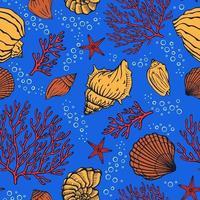 modèle sans couture avec des coquillages, des coraux et des étoiles de mer. fond marin. parfait pour les salutations, les invitations, la fabrication de papier d'emballage, le textile et la conception de sites Web. vecteur