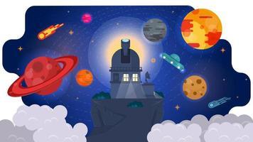 Télescope radio observatoire en haute montagne parmi les nuages en observant les planètes de l'illustration vectorielle plane concept design univers vecteur