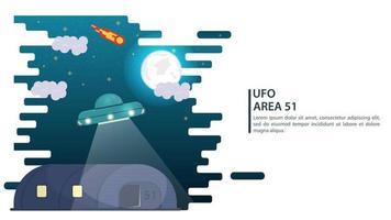 Bannière sombre nuit au clair de lune soucoupe volante ovni planant au-dessus du hangar pour les sites web et mobiles design illustration vectorielle plane vecteur