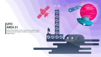 Bannière soucoupe volante ufo bleu sur le fond d'une planète rose suspendue au-dessus du concept de hangar pour les sites web et mobiles design illustration vectorielle plane vecteur